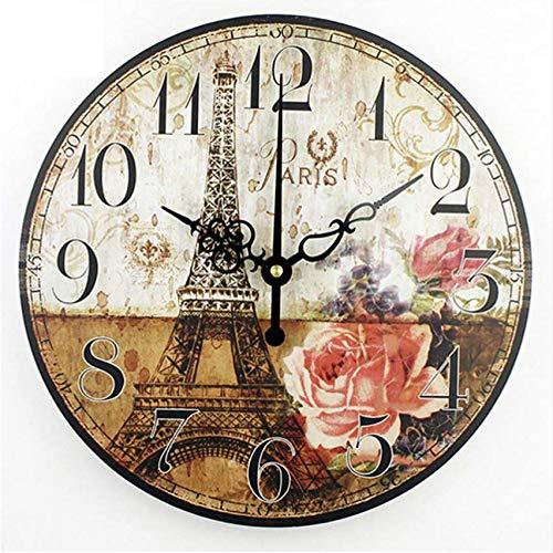Djkaa Reloj de Pared Decorativo Vintage Absolutamente silencioso decoración del hogar salón Reloj...