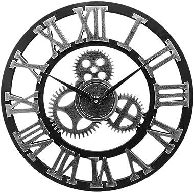 BESPORTBLE Engrenage Mobile Industriel Horloge Murale Vintage Horloge Murale en Bois Rustique Chiffres Romains Horloge Murale