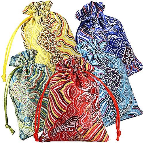 Pinowu Seda Brocado Bolsa de joyería (10pcs) para Favores del Banquete de Boda, Cordón Monedero Bolsita Bordada Caramelo Bolsa de Chocolate para Navidad Año Nuevo Fiesta de cumpleaños (10x14cm)