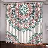 CLYDX Cortinas Dormitorio Moderno Tela Suave Gruesa para Ventanas de Habitación Juvenil Cortinas Térmicas 2 Piezas 220x215 cm - Mandala Floral