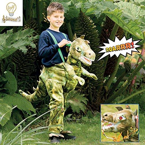 amscan RDI6-LS - Disfraz de Dinosaurio Verde con luz y Sonido, Edad de 6 a 8 años-1 PC