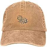 Gorra de béisbol ajustable de algodón lavado vintage lavado para papá con diseño de voleibol de playa, gorra de béisbol para exteriores, color natural