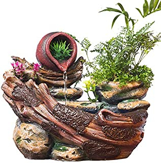 LBYLYH Home Decor Ornament Gift Plants Micro Landscape Indoor Potted Succulents Home Furnishing Rockery Resin Water Fountain Fengshui Office Decoration
