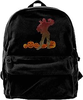 Man In Pumpkin Patch Inspired Silhouette Canvas Shoulder Backpack Backpack For Men & Women Teens College Travel Daypack Black
