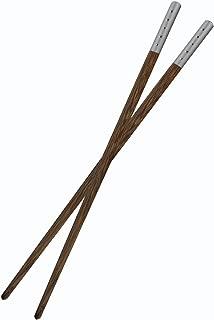 1 Pair Mozentea High Quality Totally Natural Wenge Wood Chopsticks CKZ01 (1 Pair Silver)
