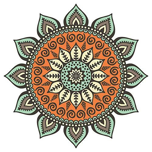 Wandtattoo Mandala Blume in bunten Farbe Wandsticker Wanddeko Wohnzimmer Deko