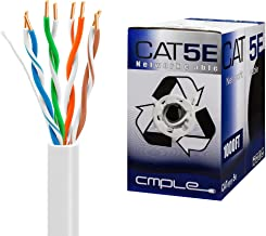 Cmple Cat5e Gigabit Ethernet Cable Network Bulk Unshielded Twisted Pair (UTP), Solid 24AWG CMR 350 MHz, 1000 Feet White