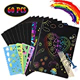60 Piece Scratch Paper Art Set for Kids, 50Pcs Rainbow Magic Scratch Off Arts Black Scratch Off Art with 5 Wooden Stylus,4 Drawing Stencils,1 Pencil Sharpener for Boys Girls Birthday Party Game