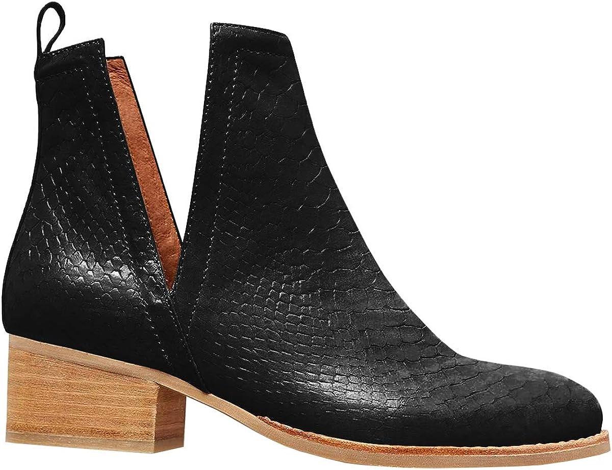 FISACE Women Pointed Toe 割引も実施中 Chelsea Boot Side V Slip Low Cut Heel 商舗 O
