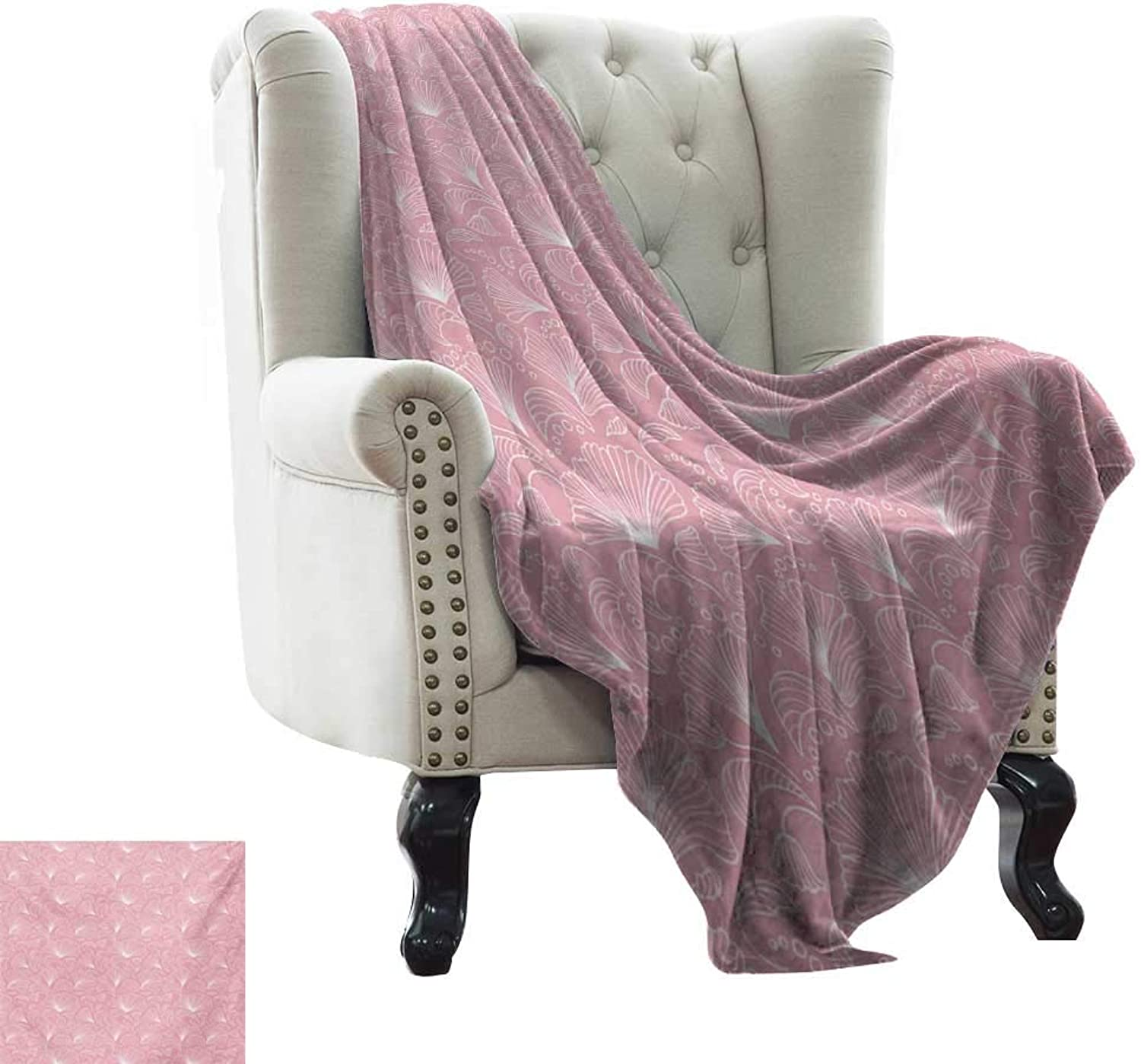 BelleAckerman Baby Blanket Pale Pink,Ornamental Floral Pattern with Swirled Lines Flourishing Petals Feminine Girls Design,White Microfiber All Season Blanket for Bed or Couch Multicolor 35 x60
