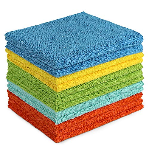 AIDEA Microfiber Cleaning Cloths-12Pack, All-Purpose Softer Highly Absorbent, Lint Free - Streak Free Wash Cloth for House, Kitchen, Car, Window, Gifts(12in.x 12in.)