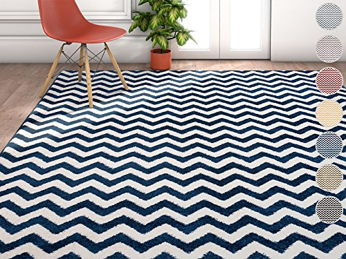 Wandering Chevron Dark Blue Zig Zag Modern Casual Geometric Area Rug 8x10 8x11 ( 7'10' x 10'6' ) Stain Fade Resistant No Shed Contemporary Abstract Dining Room Fun Shapes Lines Living Dining Room