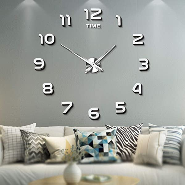 Mintime Frameless Large 3D DIY Wall Clock Mirror Stickers Home Office School Decoration 2 Year Warranty
