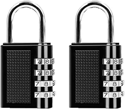 Soonge 2 Pack Combination4 Digit Outdoor Combination Locks 1.25 Inch Combination Gate Locks, Padlock for Gym Locker, Hasp Cabinet, Fence, Toolbox