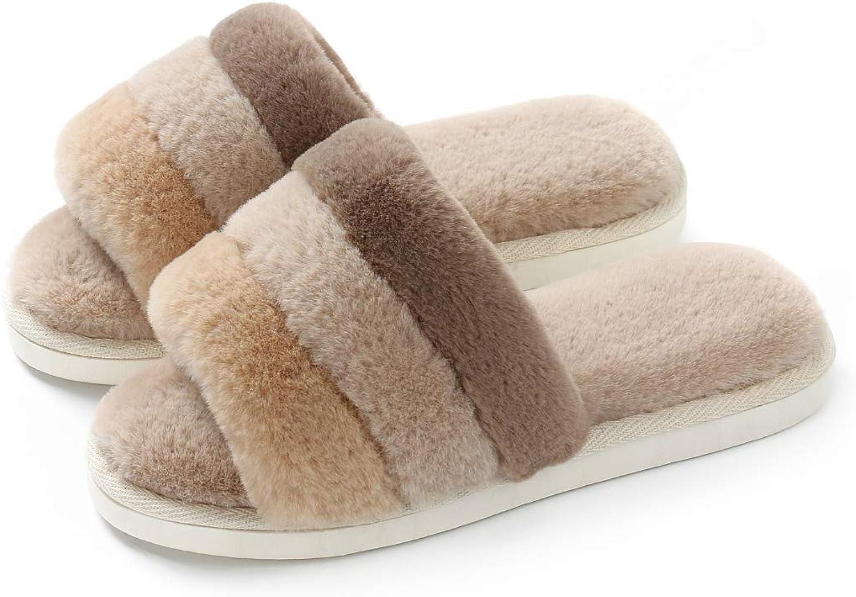 OKSOO Open Toe Slipper for Women Fluffy Slip-on House Fur Lined Anti-Skid Sole, Women's Sippers