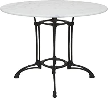 Livorno Marble Table with Cast Iron Base, White White Marble Cast Iron & Marble