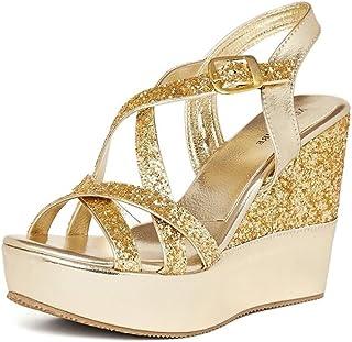 MarcLoire Women Wedges High Heels Sandal Casual/Formal Golden Wedges Footwear- 4.25 Inch Heels
