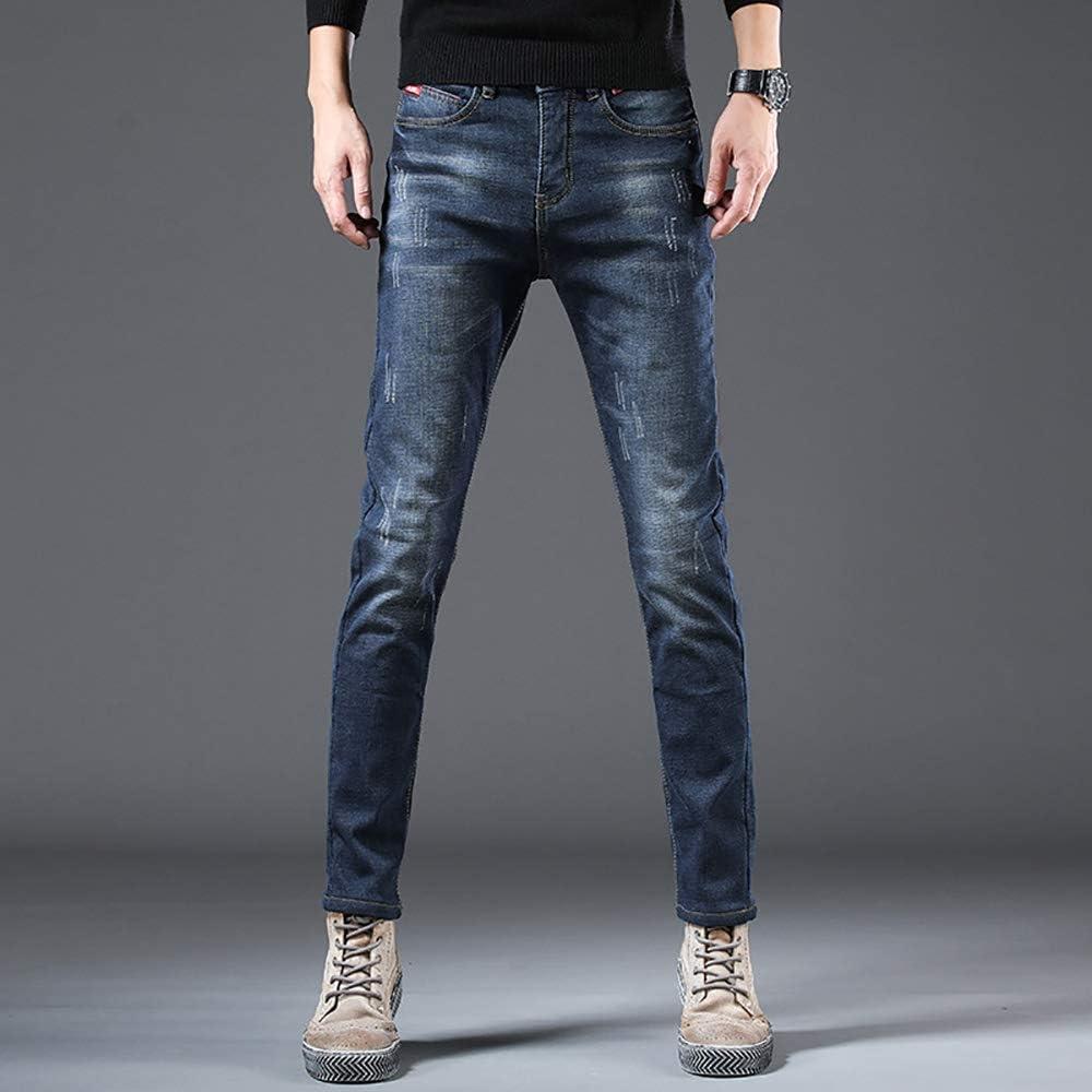 Pantalon Slim pour Homme Automne Hiver Pantalon Simple Jeunesse Straight Plus Velvet Jeans Homme Blueplusvelvet