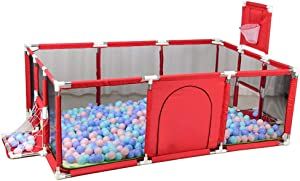 LXLA Baby Playpen Kids Activity Center Toddlers Safety Play Yard Area Indoor  Outdoor Portable Fence for Kid Child Infant  Color Red  Size 190 129cm