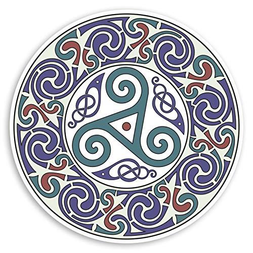 2 pegatinas de vinilo de mandala celta de 10 cm – Pretty Tribal Laptop Sticker #31874 10cm Wide