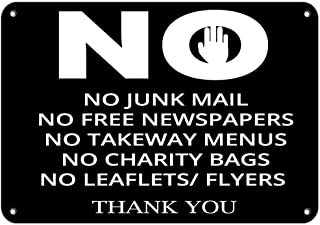 Jesiceny New Tin Sign No Junk Mail/Free Newspapers/Menus/Bags/Leaflets Thank You Aluminum Metal Road Sign Wall Decoration 8x12 INCH
