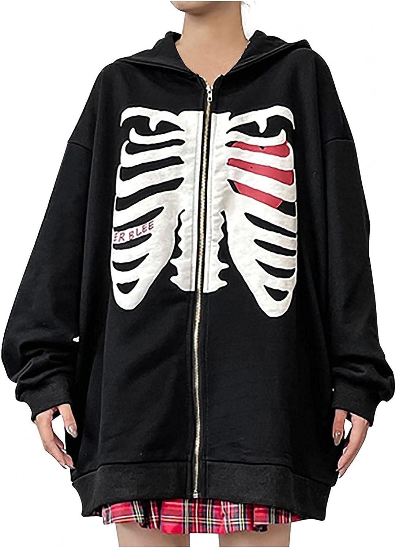 Jaqqra Cardigan for Women Y2k Skeleton Zip Up Hoodies Graphic Oversized Pullovers Sweatshirt Streetwear Goth Jacket Coats
