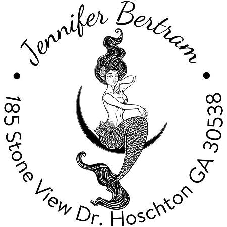 Mermaid Address Rubber Stamp  Personalized Custom  Return Address Rubber Stamp Or Self Inking   Seaside Coastal Mermaid with Seashells