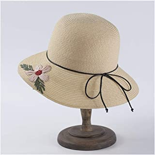 SHENTIANWEI Hand-Embroidered Visor Female Sunscreen hat Fisherman hat Basin Cap Bow Straw hat (Color : Beige)