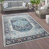 Paco Home Tapis Intérieur Extérieur, Poils Ras Design Oriental, Coloris Et Tailles Variés, Dimension:160x230 cm, Couleur:Bleu 2