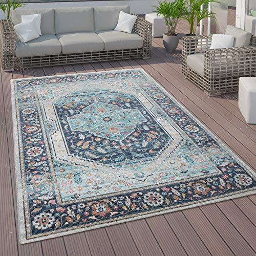 Paco Home In- und Outdoor-Teppich, Kurzflor Mit Orient Design In versch. Farben und Größen, Grösse:140x200 cm, Farbe:Blau 2