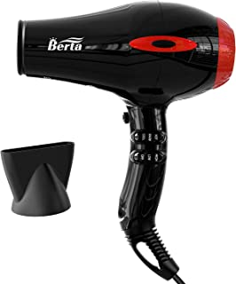 1875W Professional Salon Hair Dryer, Negative Ionic Berta Blow Dryer,AC Motor Powerful Hair Dryers with Concentrator,2 Speed and 3 Heat Settings,Black