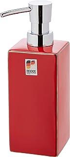 Ridder Chichi Dispensador de jabón líquido, cerámica, Rojo, ca. 6,5 x 6,5 x 19,5 cm