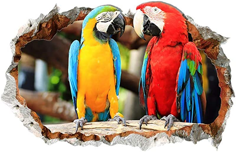 Potelin 3D Effect Break Through Wall Sticker Parrot Love Decal Living Kids Room Decor Durable And Useful
