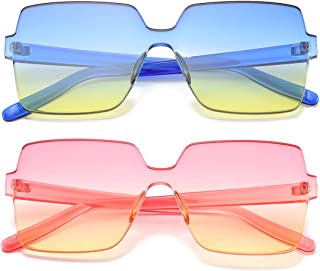 14542c5b4e Oversized Square Candy Colors Transparent Lens Rimless Frame Unisex  Sunglasses