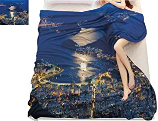 Night, Super Soft Lightweight Blanket, Aerial View of Mountain Sugar Loaf and Botafogo Rio de Janeiro, Microfiber for Bedding or Sofa, (W70 x L90 Inch Violet Blue Marigold Light Grey