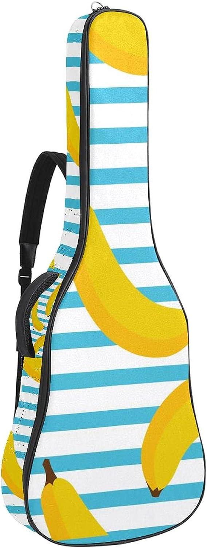 Bolsa de guitarra acústica impermeable Guitarras mochila gruesa suave acolchada clásica funda plátano sobre fondo azul blanco raya