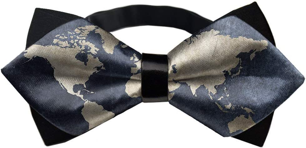 MrDecor Mens Bowtie Self Bow Tie World map