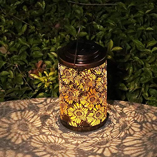 Solar Lanterns Outdoor Garden Hanging Decorative Lights Metal Waterproof LED Table Lamp for Garden Patio Courtyard Lawn Tabletop Table Pathway Party Yard - 1 Pack