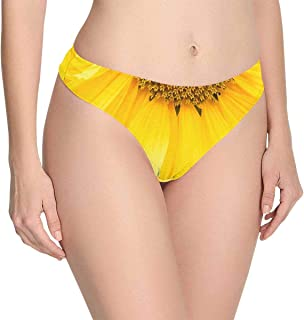VARIOUS Twin String Semi Open Back Sheer Flower Lace Brief with Rear Bow Detail
