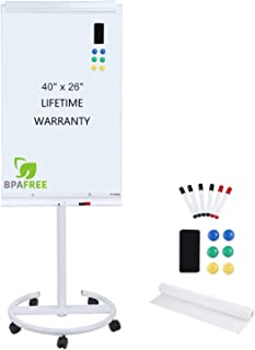 Magnetic Mobile Standing Whiteboard - 40 x 26 Inches Dry Erase White Board Whiteboard with Stand Flipchart Easel Height Adjustable by TSJ Office