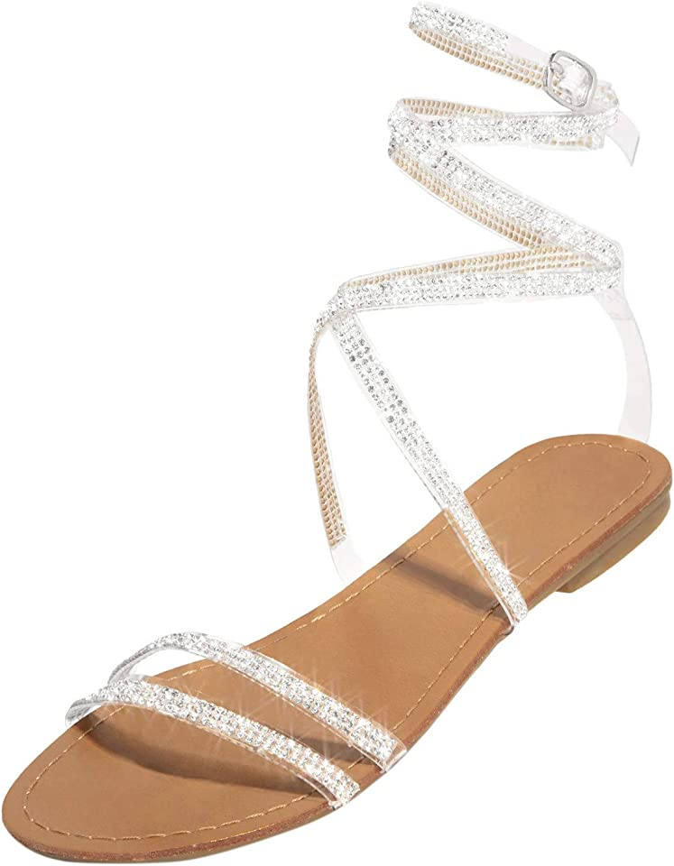 Tie Up Flat Sandals for Womens, Ankle Strap Rhinestones Low Wedge Sandals Cute Summer Flat Sandals for Zpervoba