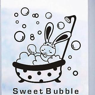Shower Glass Door Stickers Cartoon Animal Bunny Sweet Bubble Wall Sticker Cute Waterproof Baby Bathroom Decor Wall Art Decals