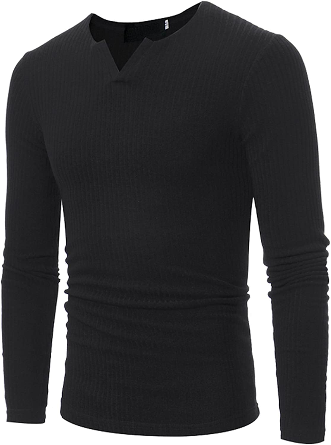 JOLIFEI Men's Premium Slim Fit Knitted Jumper V-Neck Long Sleeved Pullover Thermal Top Sweater Black US M=Tag L