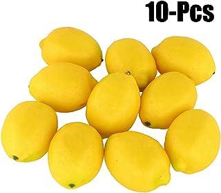 Fake Fruit Home House Kitchen Party Decoration Artificial Lifelike Simulation Yellow Lemon 10pcs Set (Yellow)