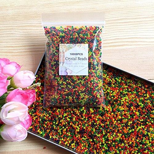 J&J - Paquete de 10.000 perlas de agua de gel de colores diferentes, perlas de agua, cristal, gel, tierra, gelatina, jarrón para decoración de bodas, Navidad, jardín, cocina, salón, (multicolor)