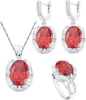 Aixili مجموعات مجوهرات حمراء بيضاوية للنساء 925 قلادة فضة قلادة أقراط خاتم مجوهرات الزفاف هدية عيد ميلاد