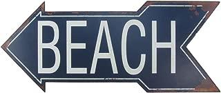 TreasureGurus, LLC Large Metal to The Beach Arrow Tin Metal Sign Nautical Seaside House FL Coastal Home Decor