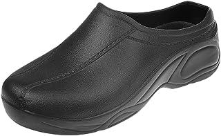 F Fityle Hommes Femmes Chef Cook Medical Infirmière Chaussures Ultralite Sabots Sans Bretelles Noir/Blanc