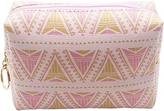 HOYOFO Portable PU Makeup Pouch Travel Cosmetic Bags Handy Makeup Bag for Women,Pink Chevron