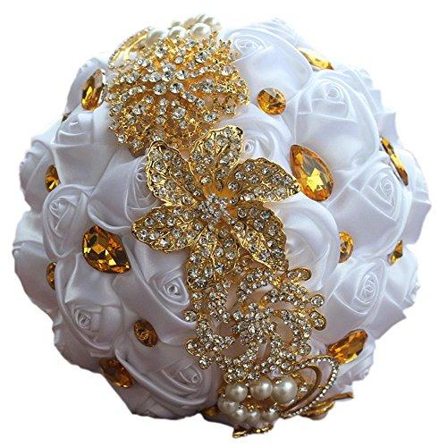 Quibine Bouquet Fleur Rose Satin Perle Strass Doré pour Mariage Demoiselle D'honneur, Dia: 15cm, Blanc